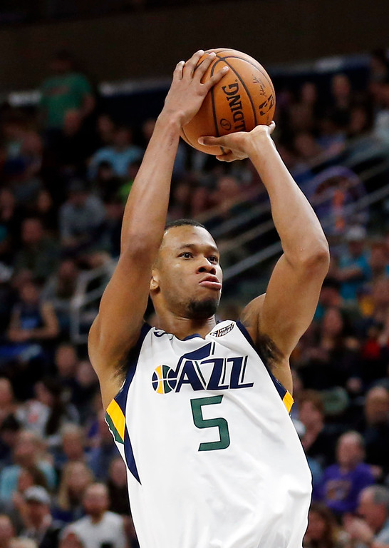 . Utah Jazz guard Rodney Hood goes to the Cleveland Cavaliers. (AP Photo/Rick Bowmer)
