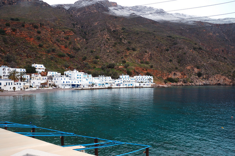 Loutro with fresh snow in the hills