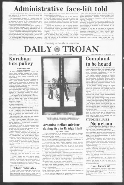 Daily Trojan, Vol. 62, No. 16, October 14, 1970