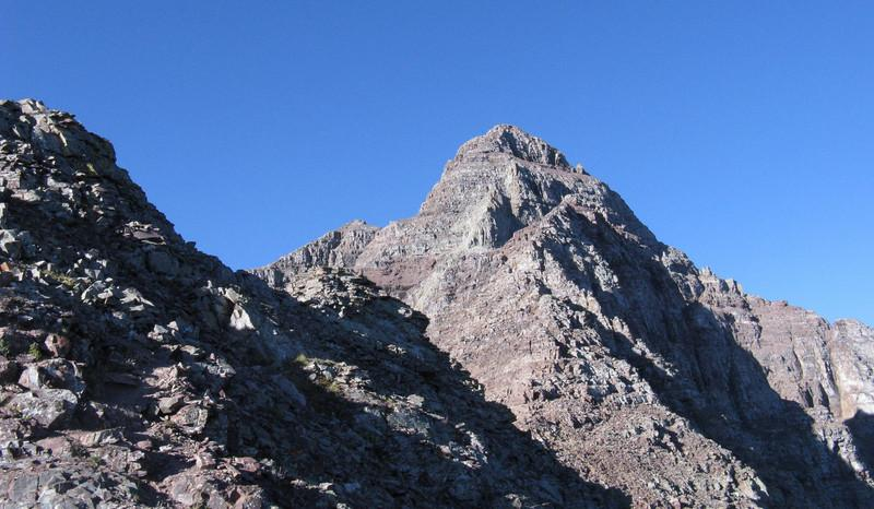 OK, the gully itself took just over an hour; 8:10 - time now to follow the NE Ridge to the summit.