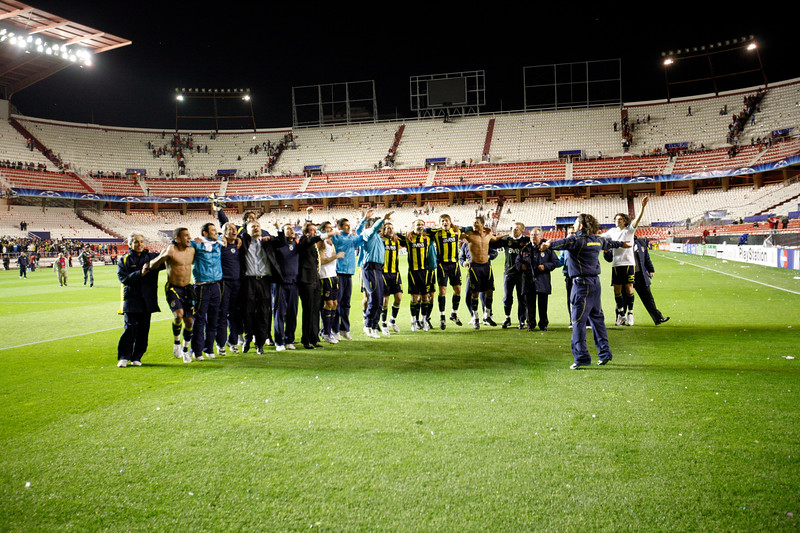 Turkish players celebrating the victory victory and their quarter-final place for the first time. UEFA Champions League first knockout round game (second leg) between Sevilla FC (Seville, Spain) and Fenerbahce (Istambul, Turkey), Sanchez Pizjuan stadium, Seville, Spain, 04 March 2008.