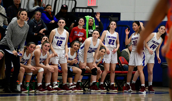 3/5/2019 Mike Orazzi | Staff St. Paul Catholic High School girls during the Class S Quarterfinals Girls Basketball Game with Bloomfield Tuesday night.