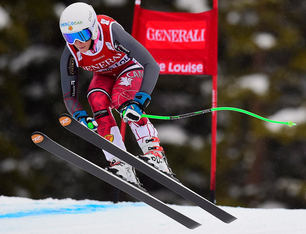 . Larisa Yurkiw, of Canada, races down the course during the women\'s World Cup downhill ski race in Lake Louise, Alberta, Saturday, Dec. 6, 2014. (AP Photo/The Canadian Press, Frank Gunn)