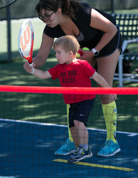 Abby, Christian and friend Aya enjoying their Tennis Lesson