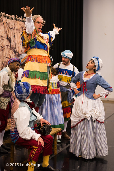 Baritone Thomas Dolié (on bench) and cast in Opera Lafayette's production of Grétry's L'Épreuve Villageoise