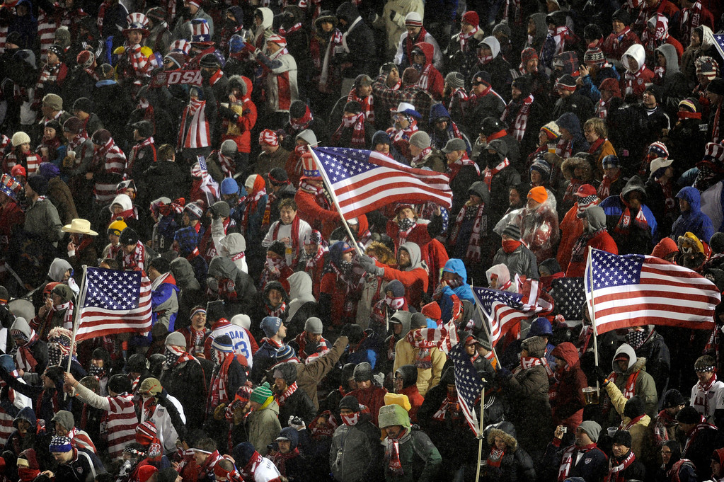 . COMMERCE CITY, CO. - MARCH 22: Hardy fans braved the snow and cold, The U.S. Men\'s National Soccer Team hosted Costa Rica Friday night, March 22, 2013 in a FIFA World Cup qualifier at Dick\'s Sporting Goods Park in Commerce City.  (Photo By Karl Gehring/The Denver Post)