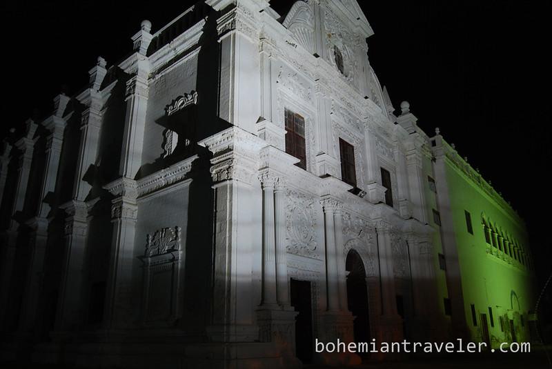 St Paul's Church at night.