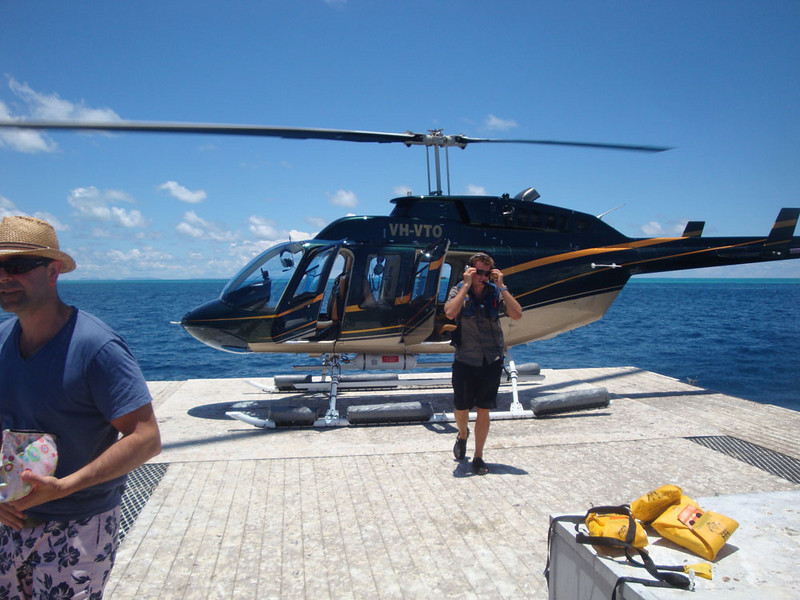 The next day, I went on a chopper ride over the reef.