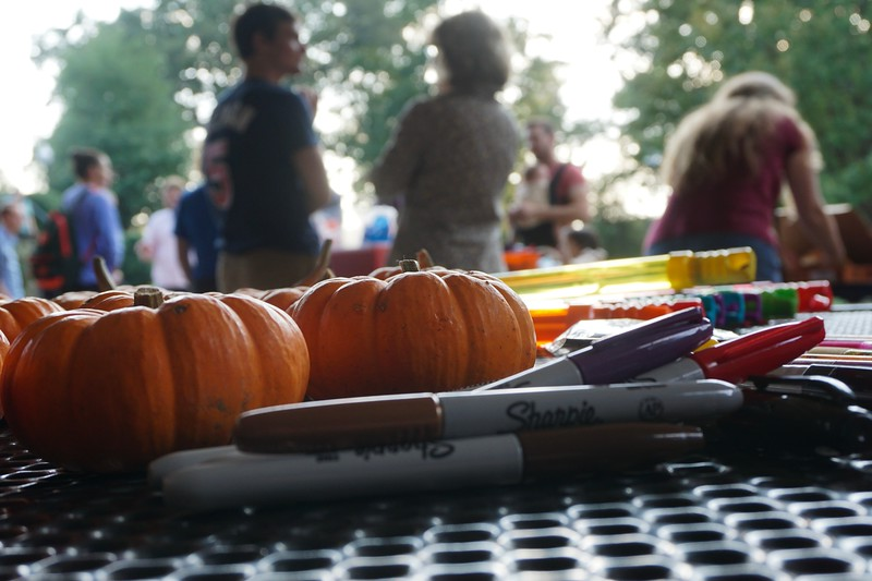 The professors also provided pumpkins, sharpies, and glitter glue so students could decorate them.