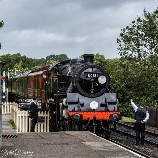 British Railways Standard Class 4MT 2-6-4 Tank Locomotive No 80151 arrives at Sheffield Park Station