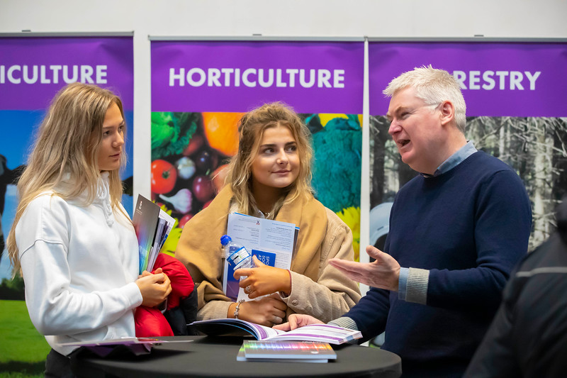 "22/11/2019. FREE TO USE IMAGE. Pictured at Waterford Institute of Technology (WIT) Open Day. Pictured are Patricija Viksna and Jessica Gal from Waterpark school, Waterford with Tom  Kent, Programme leader in Forestry. Picture: Patrick Browne  Two open days taking place this week for school leavers and adult learners at WIT Arena  Families of south east Leaving Cert students wishing to get as much course and college-related research done as early as possible in sixth year can do so by attending the Waterford Institute of Technology (WIT) Saturday Open Day, 9am-2pm on 23 November 2019. The traditional schools' open day will run as usual on Friday, 22 November with a focus on information for secondary school students, students in further education colleges, and other CAO applicants, including mature students.  The Saturday Open Day – isn't just about courses for school leavers – it will have information available on the courses available across WIT's schools of Lifelong Learning, Humanities, Engineering, Science & Computing, Health Sciences, Business.  Adults interested in upskilling, or re-skilling can find out about Springboard courses, traditional evening courses as well as part-time and postgrad courses which are offered. WIT also runs specialist programmes for education, science, engineering and other professionals. The number of students studying WIT's part-time and online courses increased to 1650 in 2018, a 28% increase on 2017.  WIT Registrar Dr Derek O'Byrne says: ""A trend we are seeing at WIT Open Days is that students who may have enjoyed the Schools Open day with their friends and school groups, will return the following day with their parents or guardians.""  Students whose schools are attending are encouraged to join their school group on the Friday. As school students are fully catered for at the Schools' Open Day on Friday, there will not be the same breadth of school leaver focused talks and events at the open day on Saturday. Howeve"