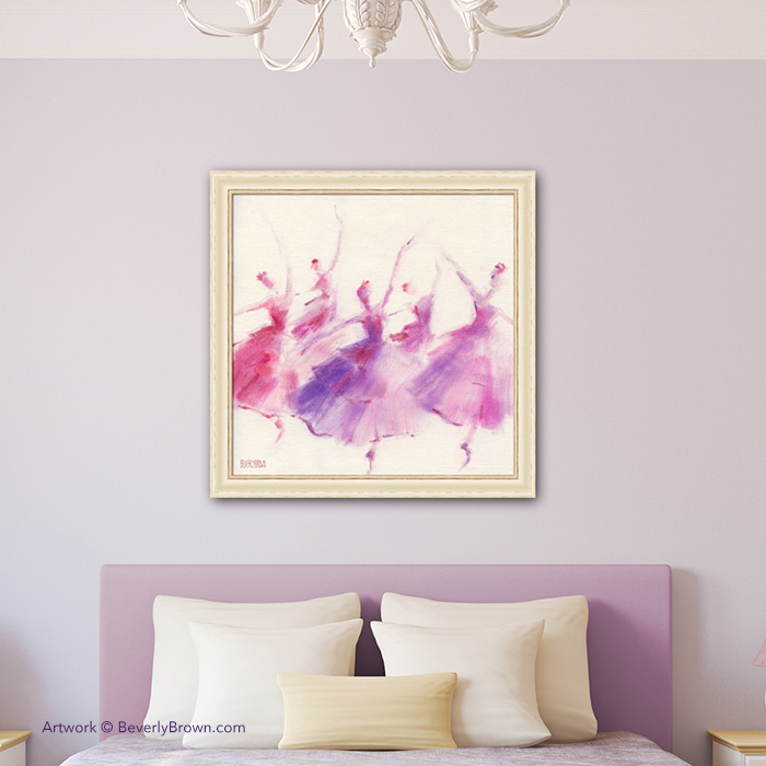 Nutcracker Ballet Waltz of the Flowers Purple and Pink Framed Wall Art Print - Beverly Brown