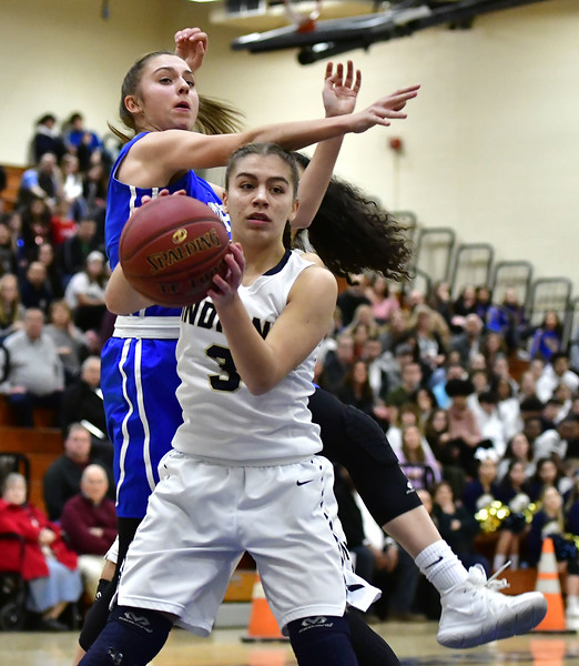 3/1/2019 Mike Orazzi | Staff Newington High School's Karissa Zocco (3) during the Class LL Second Round of the CIAC 2019 State Girls Basketball Tournament at Newington High School Friday night.