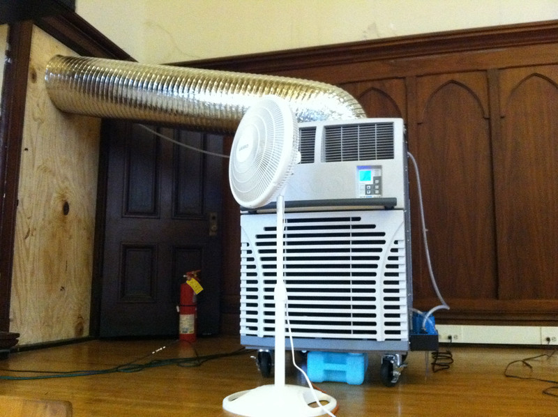 July 19, 2012.   This large air-conditioning unit on the stage of the Auditorium  (and another one on the balcony) helped to cool the library space, which had been in the 90's during the recent heat wave.  A third unit is coming soon.