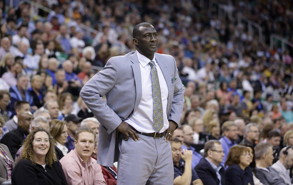 . Utah Jazz head coach Tyrone Corbin looks on in the second half during an NBA basketball game against the Los Angeles Lakers Monday, April 14, 2014, in Salt Lake City, Utah. (AP Photo/Rick Bowmer)