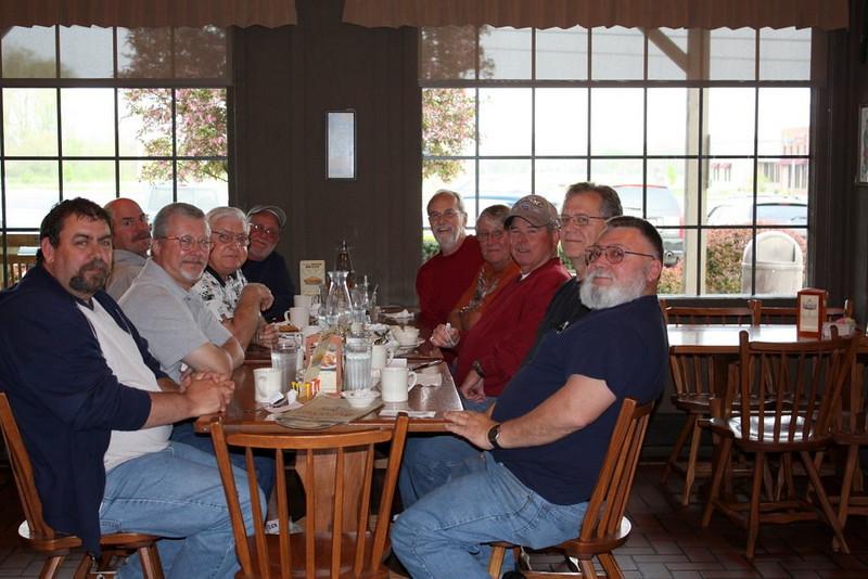 From the left around the table:  Ron Wolford, Gary Sherrill, John Allen, Tom StClair (the bald dude), Tom Watley, Bud Dodrill, Gary Harris, Joe Thomas, Dave Bradley, Roy Prough (fuzy gray bearded one).  :-)
