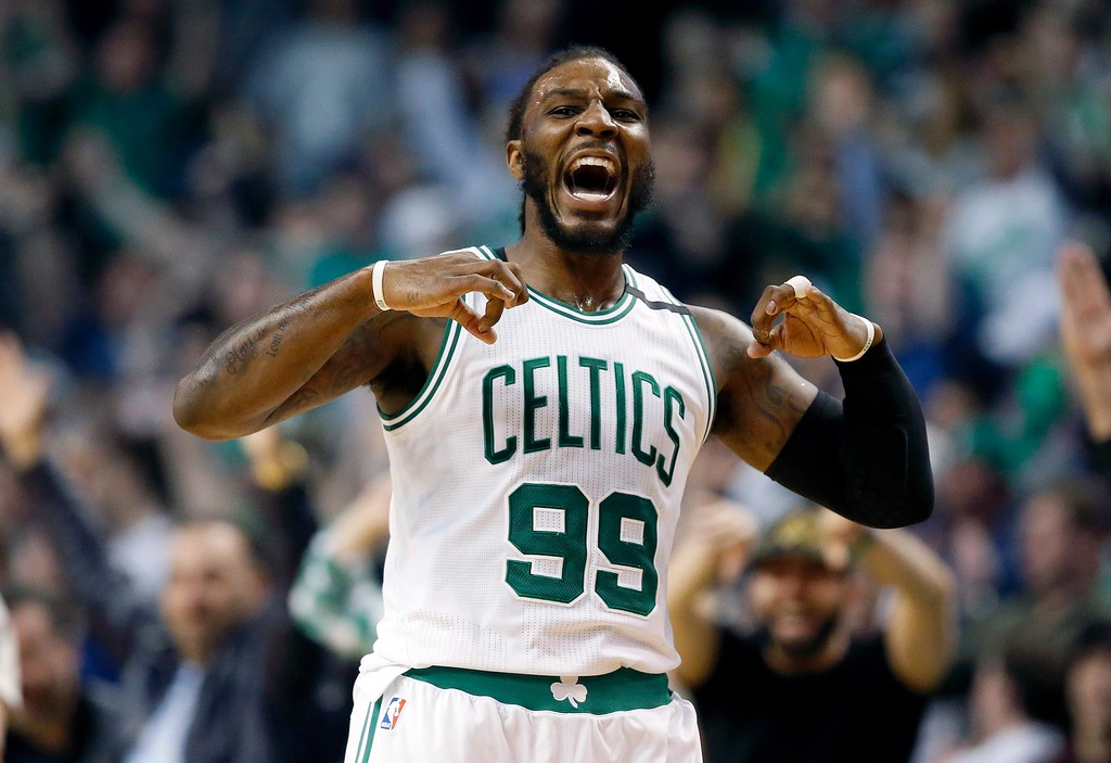 . Boston Celtics\' Jae Crowder celebrates after hitting a three-pointer during the third quarter of a second-round NBA playoff series basketball game against the Washington Wizards, Sunday, April, 30, 2017, in Boston. The Celtics won 123-111. (AP Photo/Michael Dwyer)