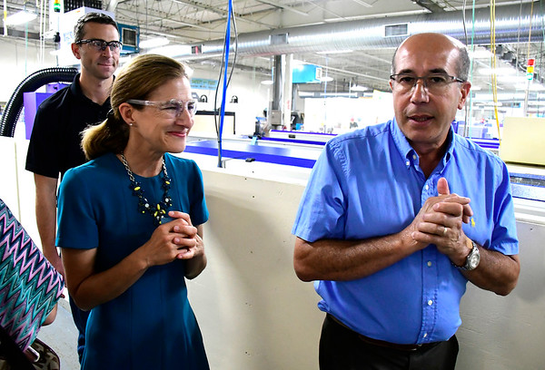 9/7/2018 Mike Orazzi | Staff Victor DaCruz talks with Lt. Governor Candidate Susan Bysiewicz along with Parrish Castor during a tour of the DaCruz Manufacturing in Bristol Friday.