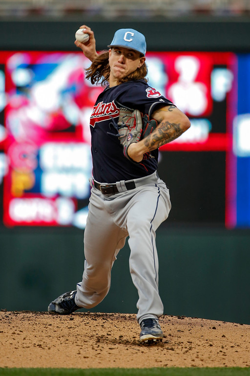 . Cleveland Indians starting pitcher Mike Clevinger throws to the Minnesota Twins in the first inning of baseball game two of a doubleheader Saturday, June 17, 2017, in Minneapolis. (AP Photo/Bruce Kluckhohn)