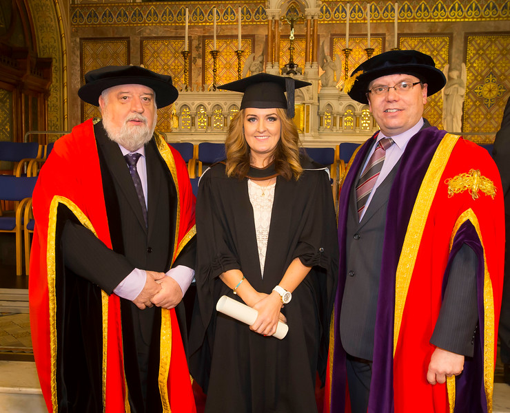 06/01/2015. FREE TO USE IMAGE. WIT (Waterford Institute of Technology) Conferring. Pictured is Sinead Flemming, Waterford City who graduated Bachelor of Science (Hons) in Nursing, also pictured are Jack Walsh, Deputy Chairman of W.I.T and Dr. Ruaidhrí Neavyn, President WIT.  Picture: Patrick Browne