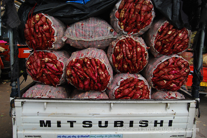 Sweet potatoes at Dambulla wholesale market in Sri Lanka.
