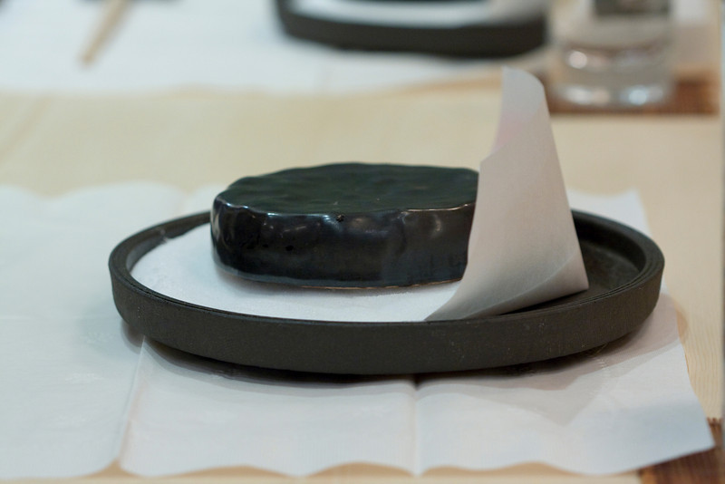 Course #7: Seared Toro  This is the hot stone.  It is sitting on a bed of salt.