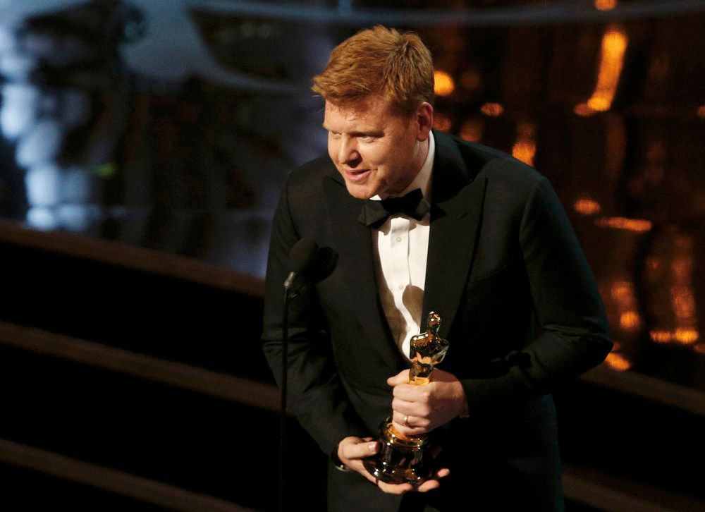 Description of . John Kahrs accepts the Academy Award for best animated short film for