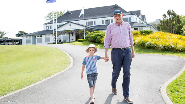 Peter Betteridge with his grandson on the 1st day of competition in the Asia-Pacific Amateur Championship tournament 2017 held at Royal Wellington Golf Club, in Heretaunga, Upper Hutt, New Zealand from 26 - 29 October 2017. Copyright John Mathews 2017.   www.megasportmedia.co.nz