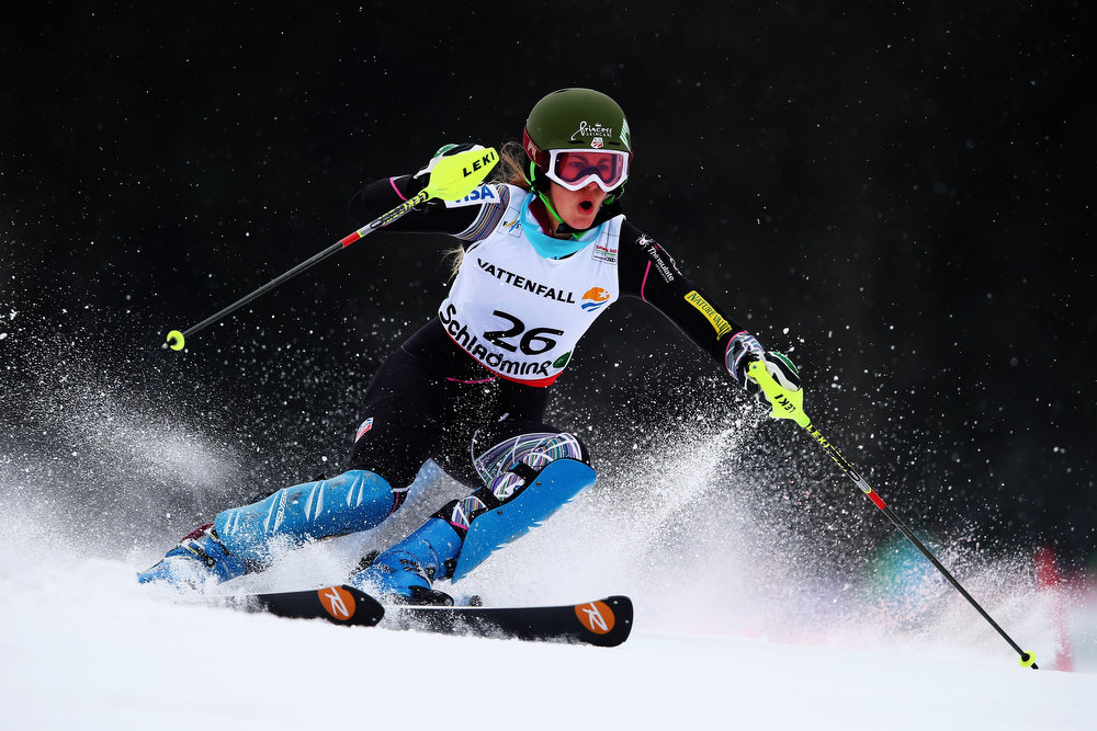 Description of . Resi Stiegler of the United States of America skis in the Women's Slalom during the Alpine FIS Ski World Championships on February 16, 2013 in Schladming, Austria.  (Photo by Clive Mason/Getty Images)