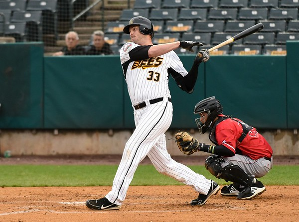 042617  Wesley Bunnell   Staff  New Britain Bees vs Lancaster Barnstormers on Wednesday evening. Jon Griffin (33)