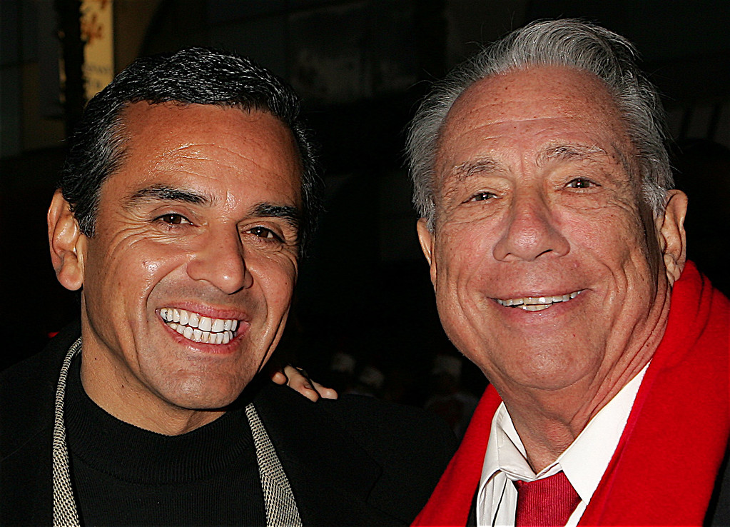 . Los Angeles Mayor and Parade Grand Marshal Antonio Villaraigosa poses with Los Angeles Clippers owner Donald T. Sterling prior to the 2005 Hollywood Christmas Parade on November 27, 2005 in Hollywood, California.  (Photo by David Livingston/Getty Images)
