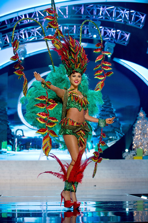 . Miss Bolivia 2012, Yessica Mouton, performs onstage at the 2012 Miss Universe National Costume Show on Friday, Dec. 14, 2012 at PH Live in Las Vegas, Nevada. The 89 Miss Universe Contestants will compete for the Diamond Nexus Crown on Dec. 19, 2012. (AP Photo/Miss Universe Organization L.P., LLLP)