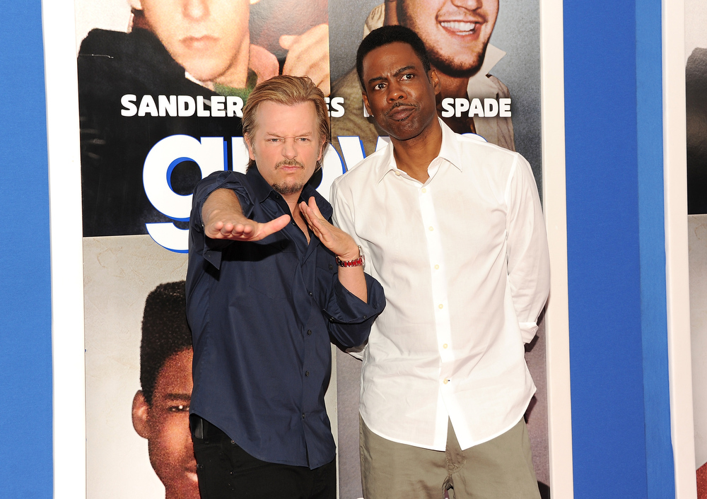 ". Actors David Spade, left, and Chris Rock attend the premiere of ""Grown Ups 2\"" at the AMC Loews Lincoln Square on Wednesday, July 10, 2013 in New York. (Photo by Evan Agostini/Invision/AP)"