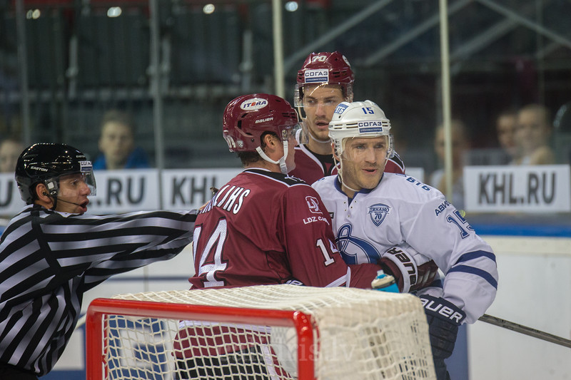Martins Karsums (15) in the KHL regular championship game between Dinamo Riga and Dynamo Moscow, played on October 3, 2016 in Arena Riga