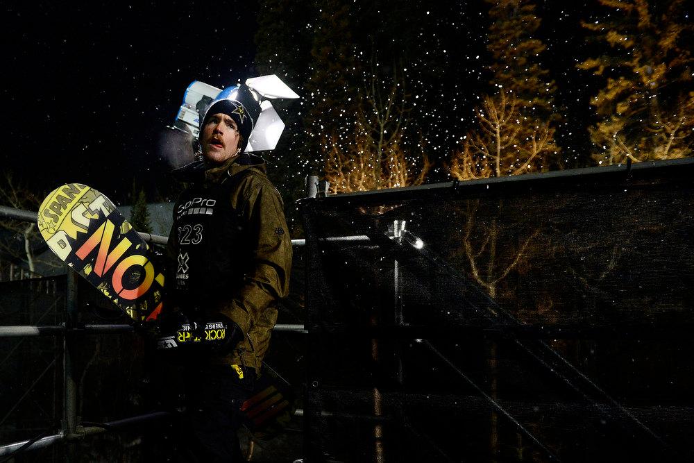 Description of . ASPEN, CO. - JANUARY 24: Brett Esser behind the stage during the men's Snowboard Superpipe elimination. Men's Snowboard Slopestyle elimination X Games Aspen Buttermilk Mountain Aspen January 24, 2013 (Photo By AAron Ontiveroz / The Denver Post)