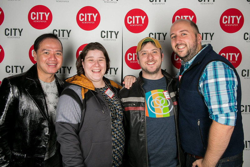 "Michael, Anna, Adam and I at CITY Newspaper's ""Best of Rochester"" party.  PHOTO BY JOHN SCHLIA"