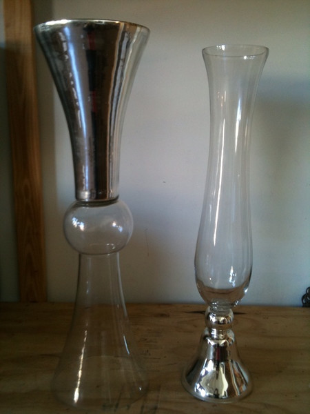 "I love these new vases!  They can be used upside down & have a reflective coating!  The left bubble center vase is 32"" tall and I have (8) of these.  The vase on the right is about 30"" tall and I have only (4) of them."