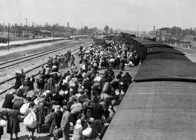 """Jews just arriving at Birkinau from Hungary. Nazi victims across Europe were told they were being """"resettled"""". They had their most treasured possessions in one bag or suitcase (best clothes, money, jewels, gold items) all of which were immediately confiscated and inventoried for re-distribution to the Nazi regime. Most people shown here were dead within hours."""