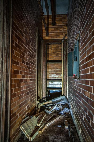 Hallway full of debris