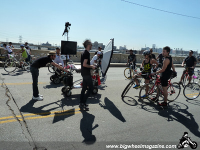 Get your photo taken on the bridge - CicLAvia 2011 - Los Angeles, CA - October 9, 2011