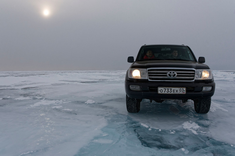 Crossing Lake Baikal in winter from Uzuri to Ust Bargusin