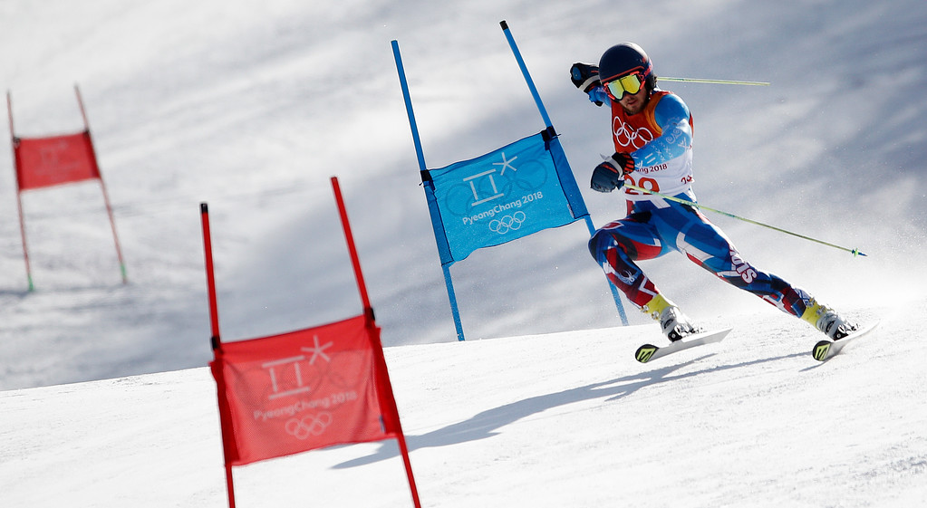 . Slovakia\'s Andreas Zampa competes during the first run of the men\'s giant slalom at the 2018 Winter Olympics in Pyeongchang, South Korea, Sunday, Feb. 18, 2018. (AP Photo/Christophe Ena)