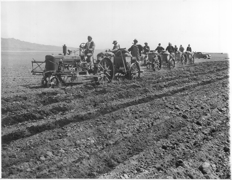 """""""Potato Planting Time at Relocation Center"""" -- caption on photograph"""