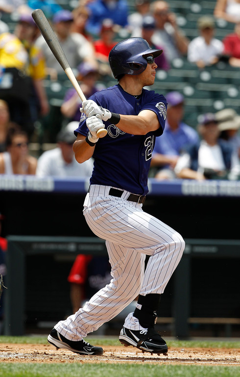 . Colorado Rockies\' Tyler Colvin follows the flight of his RBI-single against the Washington Nationals in the first inning of a baseball game in Denver on Thursday, June 13, 2013. (AP Photo/David Zalubowski)