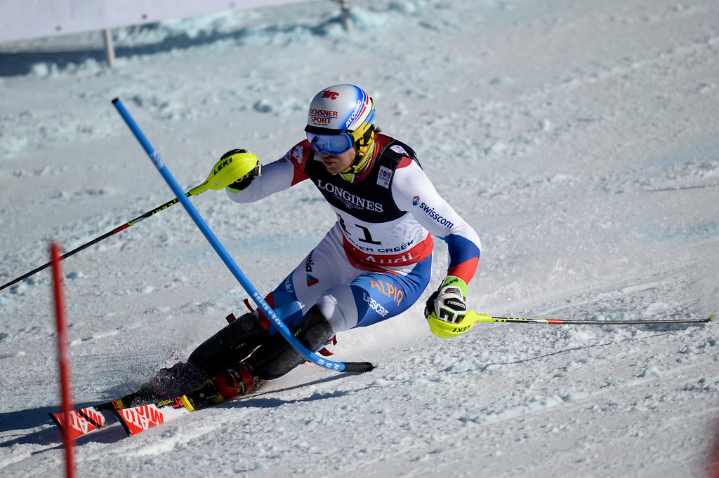 . BEAVER CREEK, CO - FEBRUARY 08: Mauro Caviezel of Switzerland during the men\'s alpine combined final. FIS Alpine World Ski Championships 2015 on Sunday, February 8, 2015. (Photo by AAron Ontiveroz/The Denver Post)