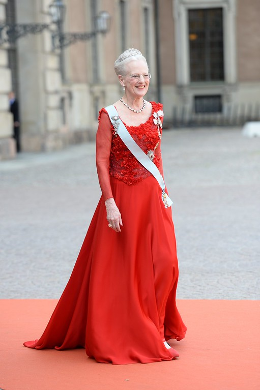 . Queen Margrethe of Denmark arrives to attend the wedding of Prince Carl Philip and Sofia Hellqvist at the Royal Chapel in Stockholm, Sweden, Saturday June 13, 2015. (Fredrik Sandberg / TT News Agency via AP)