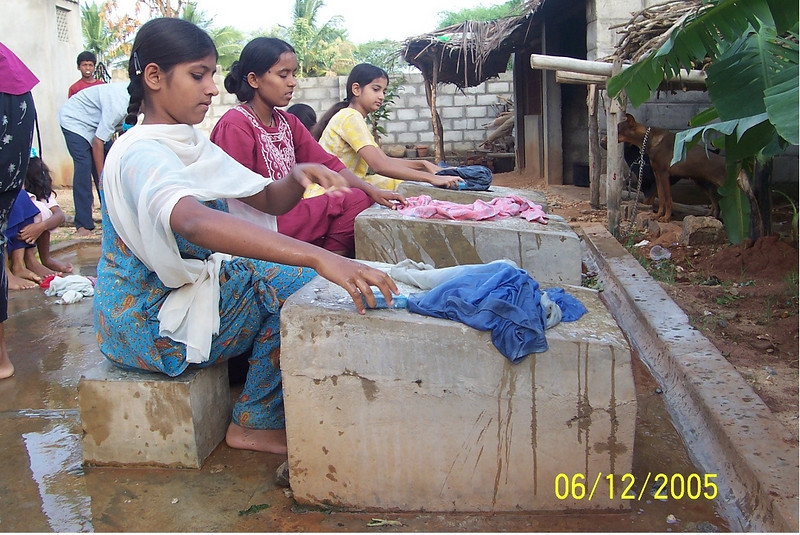 Wash day at the Asian Aid deaf school near Kollegal in South India