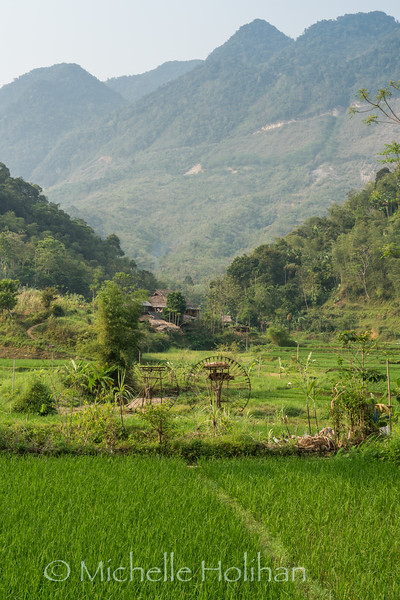Water wheels and rice terraces at Pù Luông Nature Reserve, Vietnam