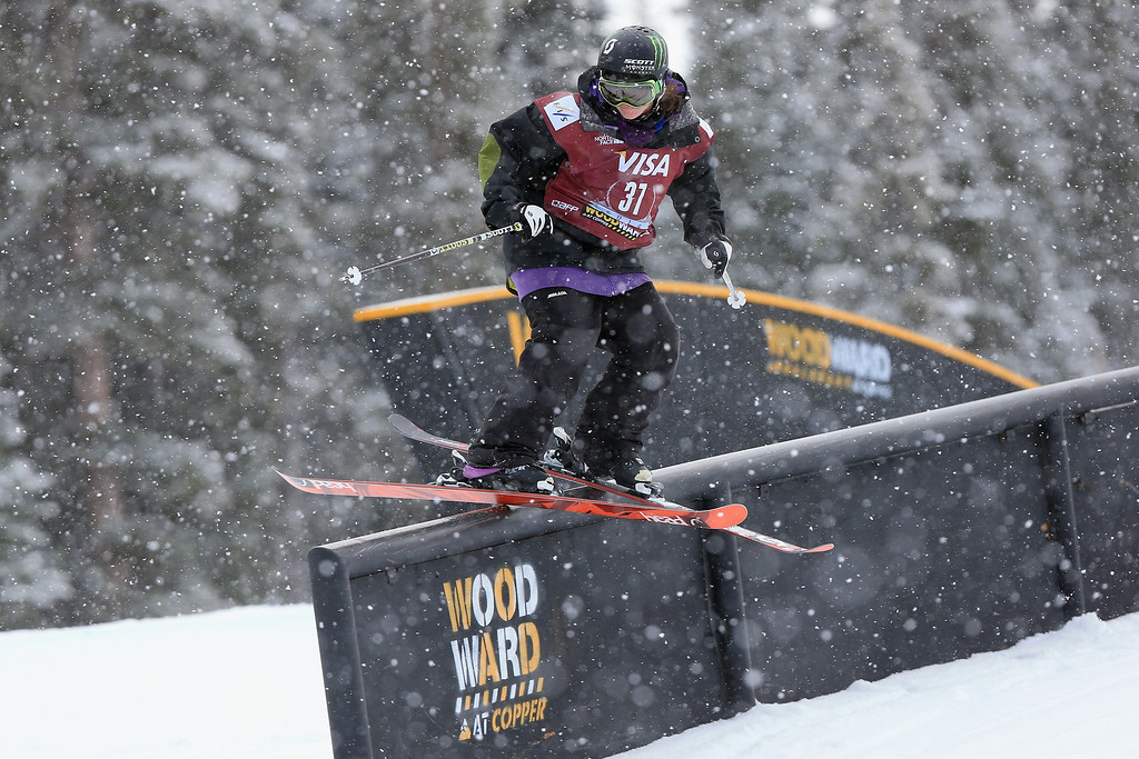 . Keri Herman in action during qualifying for the women\'s FIS Slopestyle Ski World Cup at the U.S. Snowboarding and Freeskiing Grand Prix on December 20, 2013 in Copper Mountain, Colorado.  (Photo by Doug Pensinger/Getty Images)