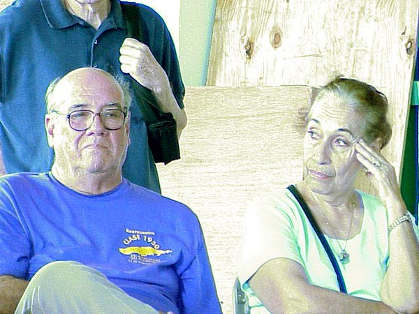 According to Dr. Rafael Rivera Castano (lef), Vieques, a retired epistemologist and professor at the University of Puerto Rico, Rio Piedras, there is a large incidence of cancer among people on Vieques.  Mirna Pagan (right) is an artist living on Vieques.